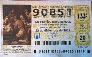 Loteria Navidad Décimo numero 90851. Precio del décimo: 23€