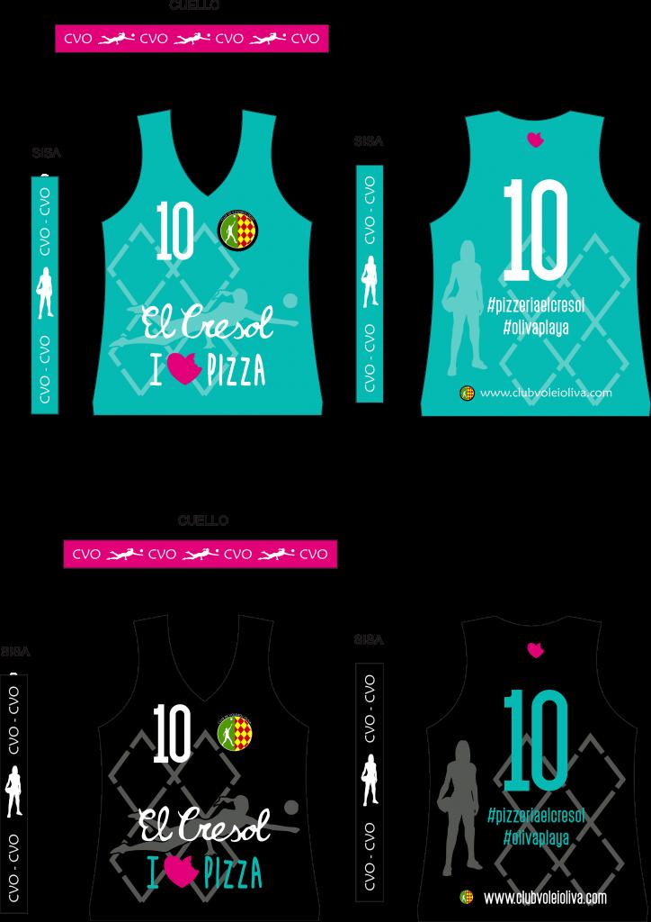Equipación Club Voleibol Oliva categoría Cadete 2020-2021 patrocinada por la pizzeria El cresol